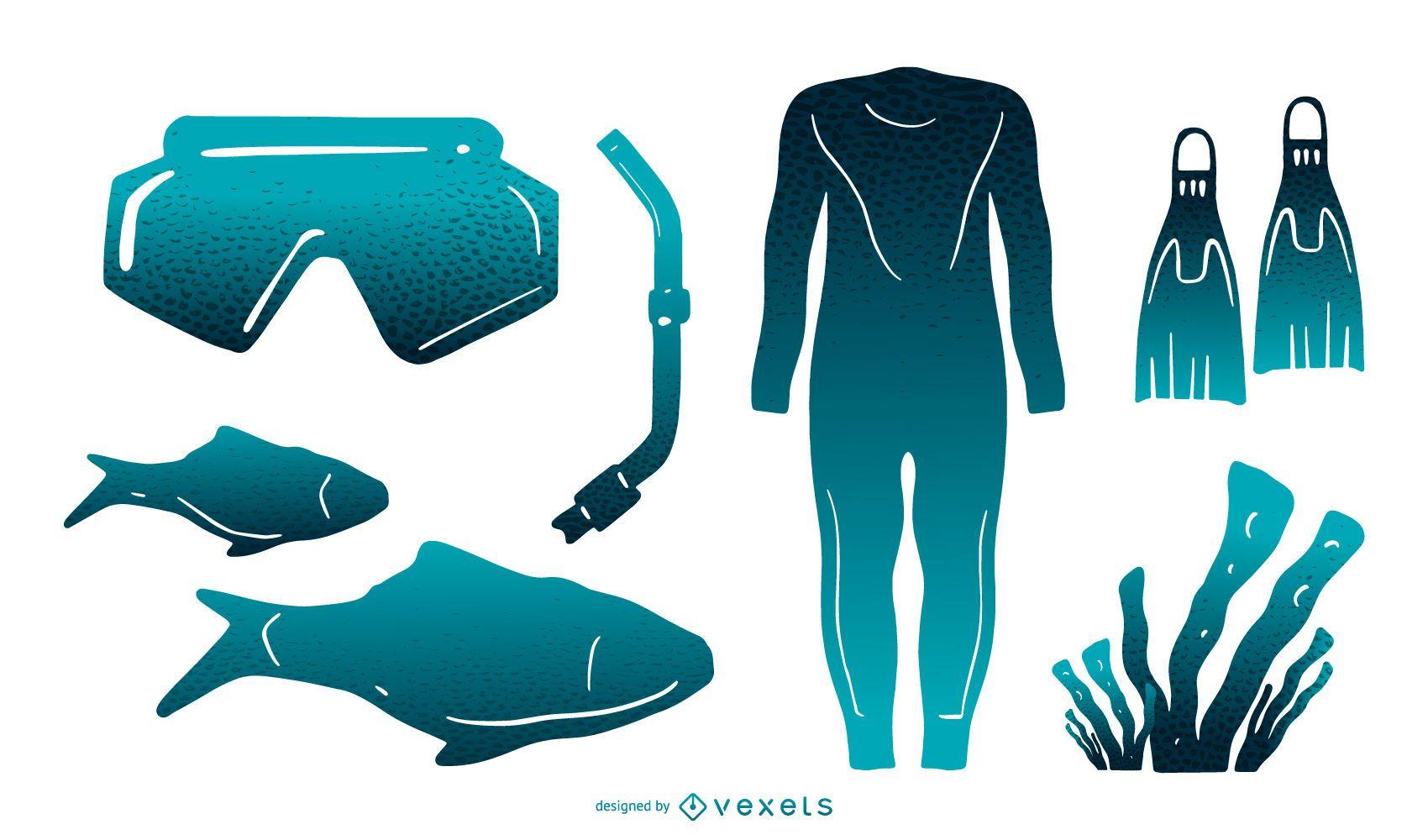 Snorkeling Elements Gradient Silhouette Pack