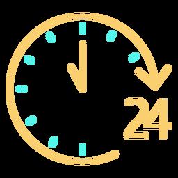 Icono de reloj analógico de 24 tiempos