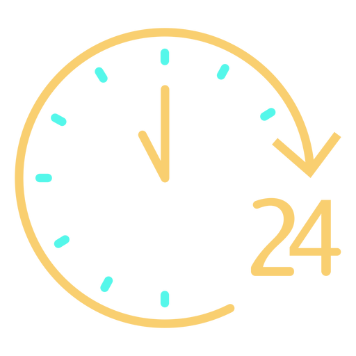 Analog clock 24 stroke icon Transparent PNG