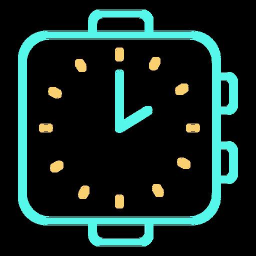Analog watch icon stroke cyan orange Transparent PNG