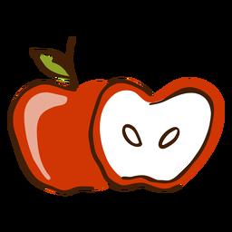 Apfel geschnittene Hand gezeichnet
