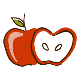 Dibujado a mano manzana cortada