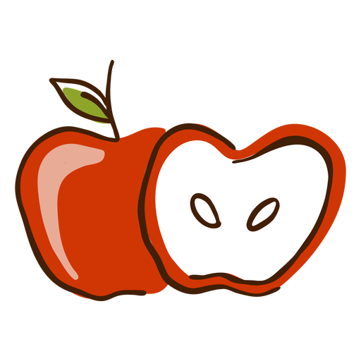 Apple cut hand drawn