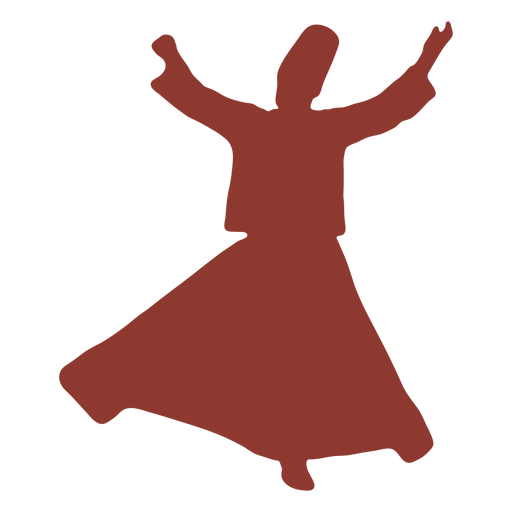 Arms out dervish turkish dancer silhouette Transparent PNG