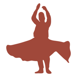 Arms up dervish turkish dancer silhouette