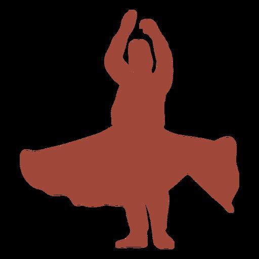 Silhueta de dançarina dervixe turca com os braços erguidos