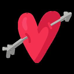 Flecha a través de la ilustración del corazón plana