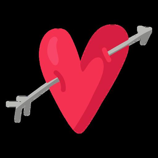 Arrow through heart illustration flat