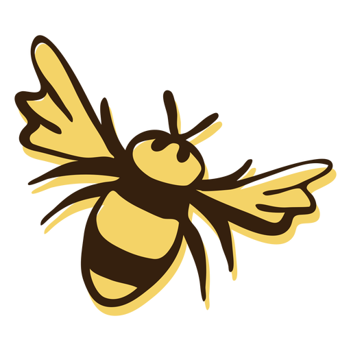 Bee flying hand drawn