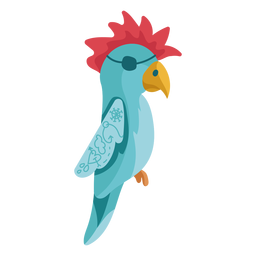Blue parrot red hair eyepatch