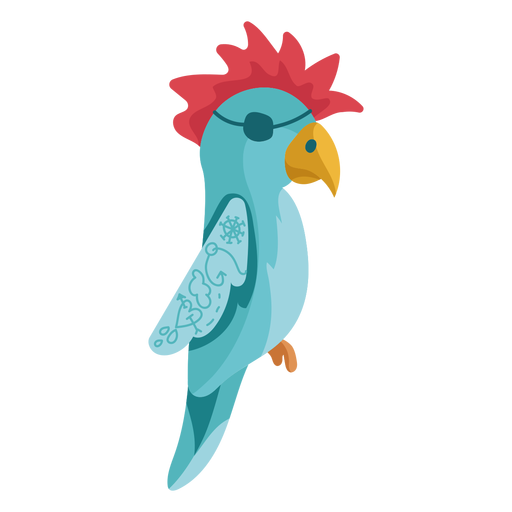 Blue parrot red hair eyepatch Transparent PNG