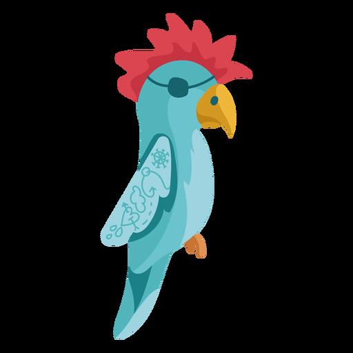 Blue parrot red hair eyepatch