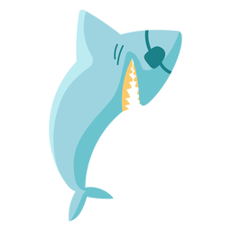 Blue shark pirate eye patch flat icon