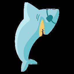 Icono plano de parche de ojo de pirata tiburón azul
