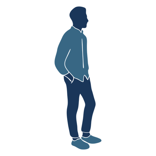 Boy man standing profile blue duotone Transparent PNG
