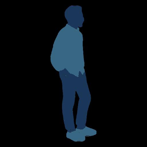 Chico hombre de pie perfil azul duotono Transparent PNG