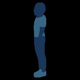 Menino em pé perfil azul duotônico