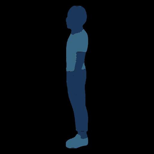 Boy standing profile blue duotone Transparent PNG