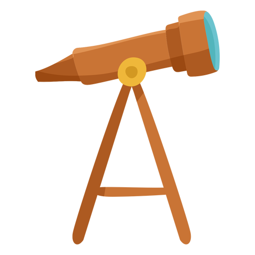 Brown telescope icon flat Transparent PNG