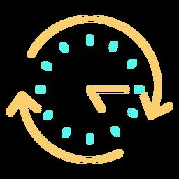 Ícone de traçado de relógio analógico de setas circulares
