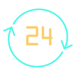 Circular arrows number 24 icon