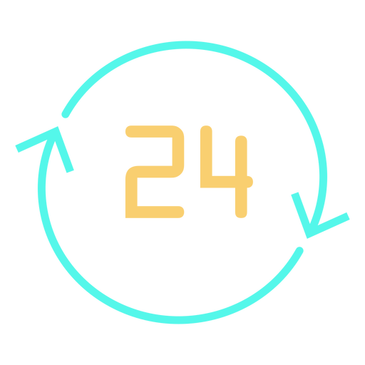Circular arrows number 24 icon Transparent PNG
