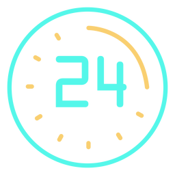 Clock digital 24 icon stroke