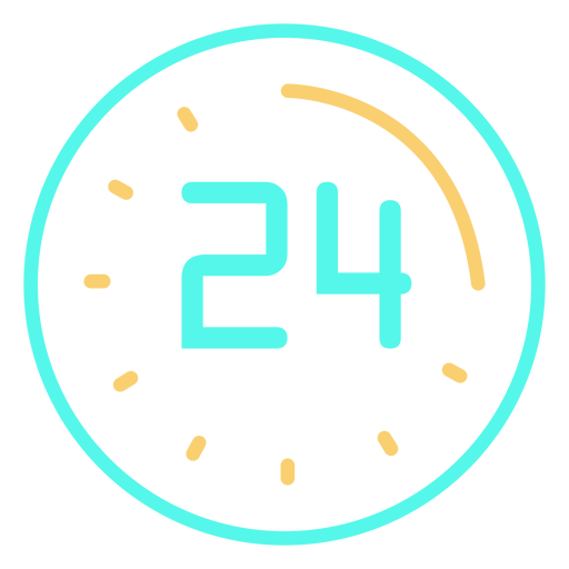 Clock digital 24 icon stroke Transparent PNG