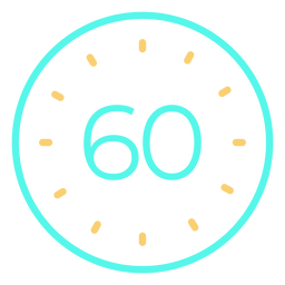 Clock digital 60 cyan stroke icon
