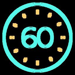 Reloj digital 60 icono de trazo cian