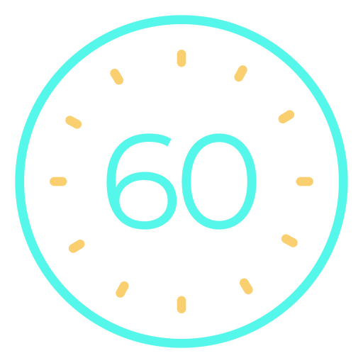 Clock digital 60 cyan stroke icon Transparent PNG