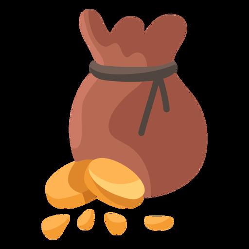 Coin treasure bag illustration