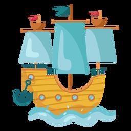 Colorido barco de vela pirata mar