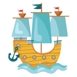 Mar de barco à vela pirata colorido