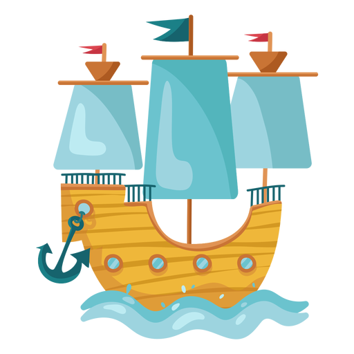 Colorful pirate sail boat sea Transparent PNG