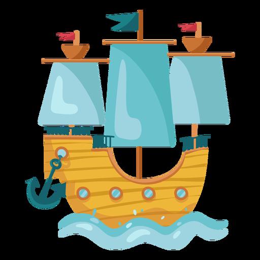 Mar de barco a vela pirata colorido