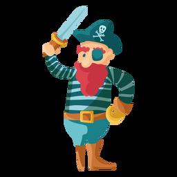Pé de perna de pau de pirata colorido madeira