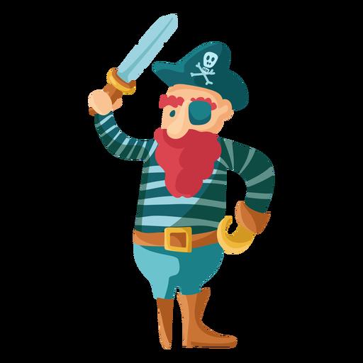 Colorful pirate peg leg standing Transparent PNG