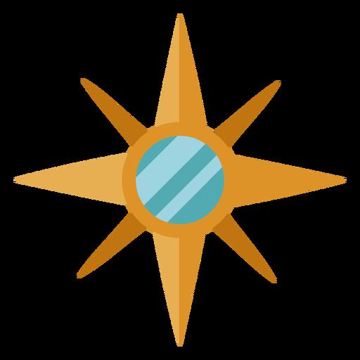 Ilustración de estrella de brújula plana
