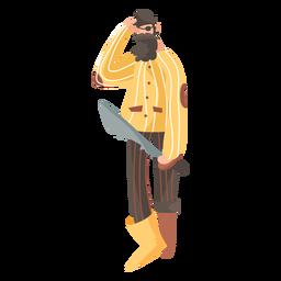 Pirata confundido de pie