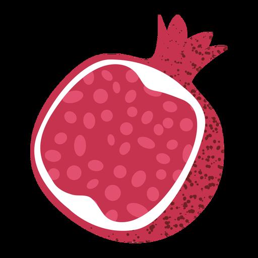 Cut pomegranate angled textured illustration