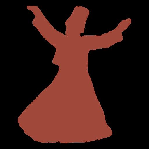 Dervish turkish dancer arms out silhouette Transparent PNG