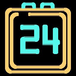 Digital watch 24 icon cyan orange stroke