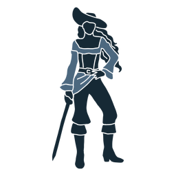 Female pirate standing posing sword blue duotone