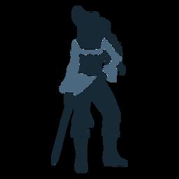 Pirata hembra de pie posando espada azul duotono