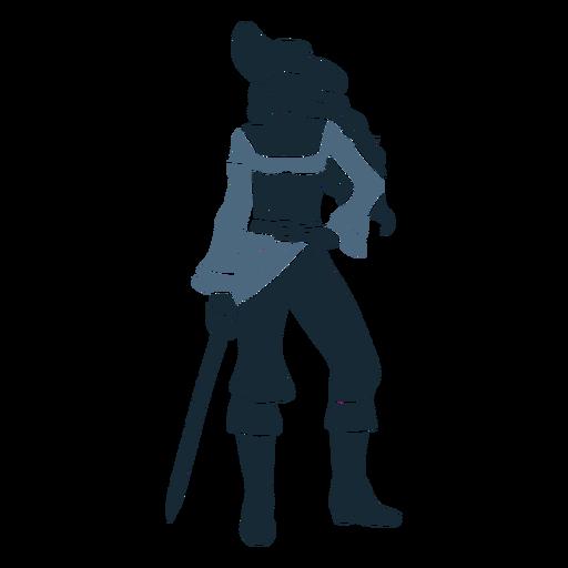 Mujer pirata de pie posando espada azul duotono
