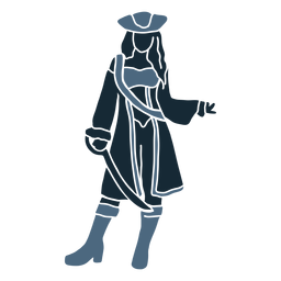 Mujer pirata espada de pie azul duotono