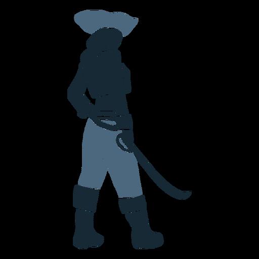 Female pirate sword backside blue duotone