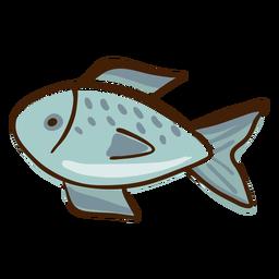 Fisch hebt Hand gezeichnet hervor