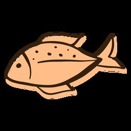 Mão de perfil de peixe desenhada
